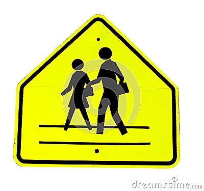 Yellow crosswalk sign