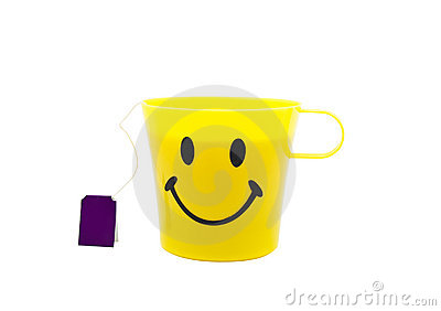 Yellow cup with drawing in a kind of smile