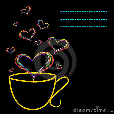 Yellow cup and floating hearts
