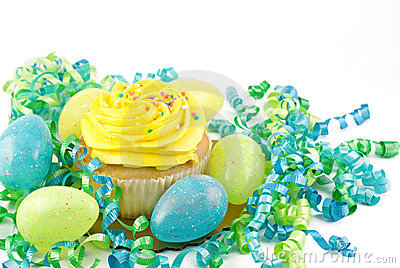 Yellow Cupcake with Easter Eggs and decorations