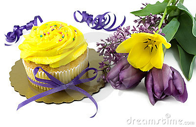 Yellow Cupcake with Fresh Tulips