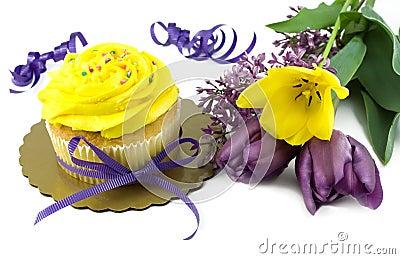 Yellow Cupcake with Fresh Tulips