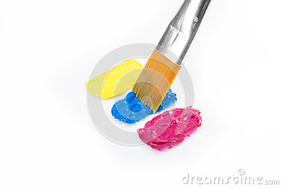 Yellow, cyan and magenta colors with paintbrush