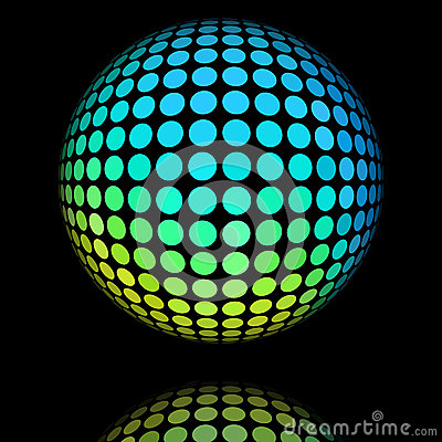 Yellow and cyan textured ball.