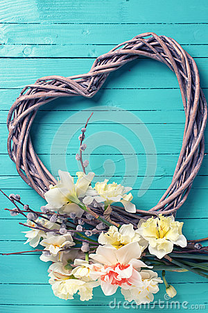 Free Yellow Daffodils, Willow Branches And Decorative Heart On Tur Stock Images - 65231984