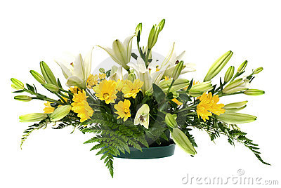 Yellow daisy and white flowers arrangement