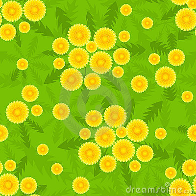 Yellow dandelion seamless pattern.
