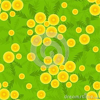 Yellow dandelion seamless pattern.