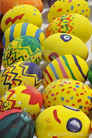 Yellow Decorated Easter Eggs
