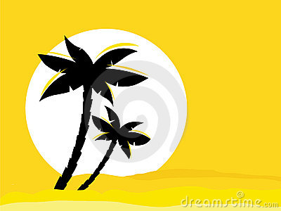 Yellow desert sunrise background with black palm