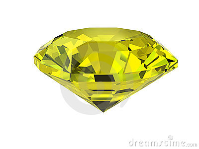 Yellow diamond isolated on white