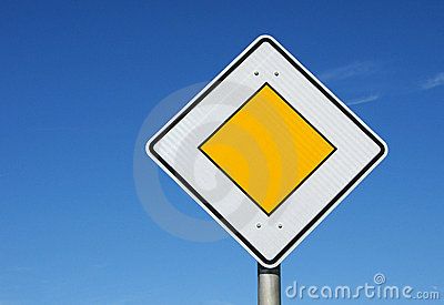 Yellow Diamond Road Sign Royalty Free Stock Photo Image