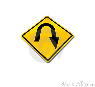 Yellow diamond u-turn road sign