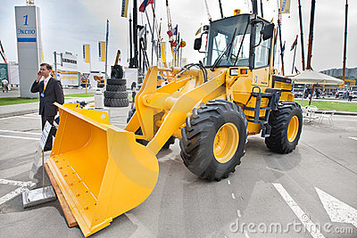 Yellow diesel front end loader Editorial Stock Photo