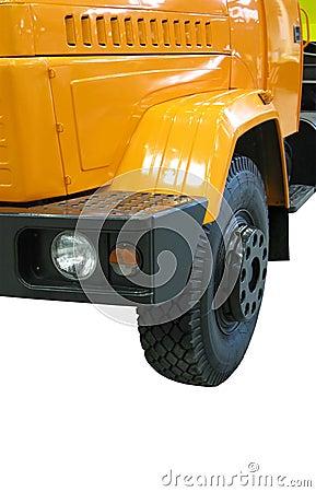 Yellow diesel heavy cargo truck (fuel lorry)
