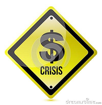 Yellow dollar crisis sign illustration design