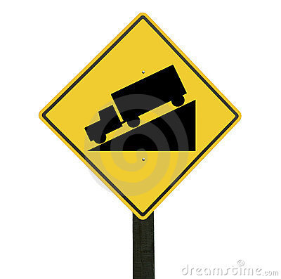 Yellow downhill sign, isolated, clipping path.