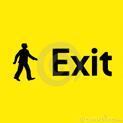 Yellow emergency exit sign