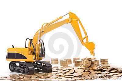 Yellow excavator digging a heap of coins