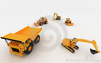 Yellow Excavator and Dump