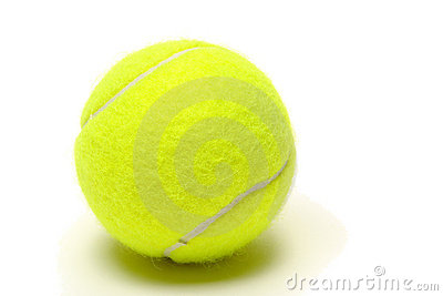 Yellow Felt Tennis Ball over White