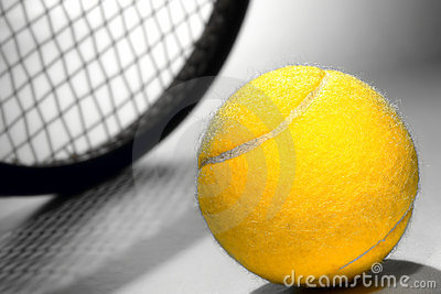 Yellow Felt Tennis Ball and Sport Racket