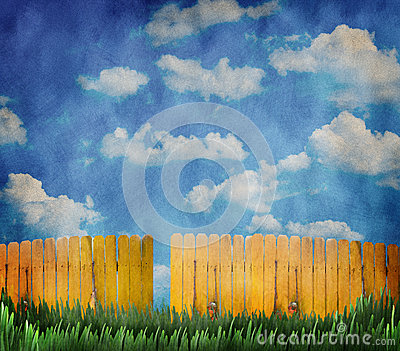 Wooden fence and sky