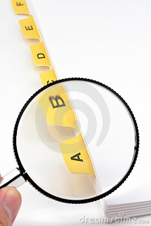 Yellow file divider and magnifier