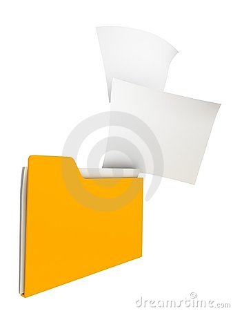 Yellow filing office folder with paper sticks