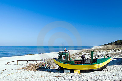 Yellow fishing boat.