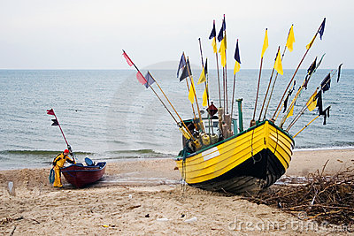 Yellow fishing boat.