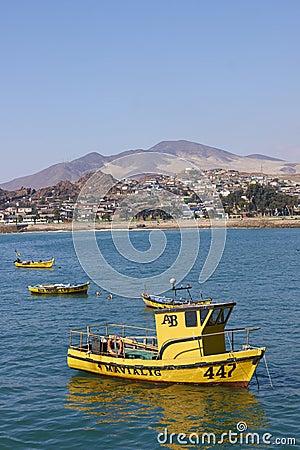 Yellow Fishing Boats Editorial Stock Photo