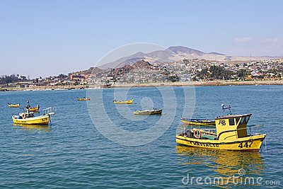 Yellow Fishing Boats Editorial Image