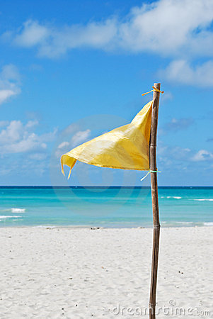 Yellow flag on the beach