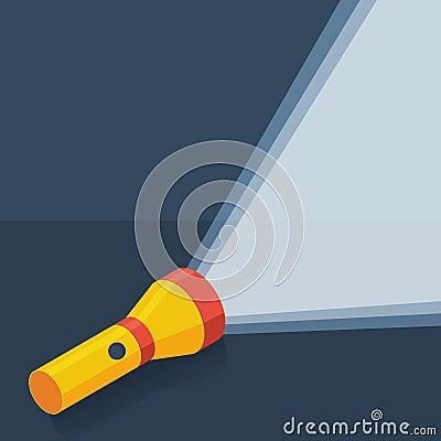 Free Yellow Flashlight In Flat Style On Dark Background Stock Photography - 47939742