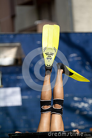 Yellow flippers Editorial Stock Photo