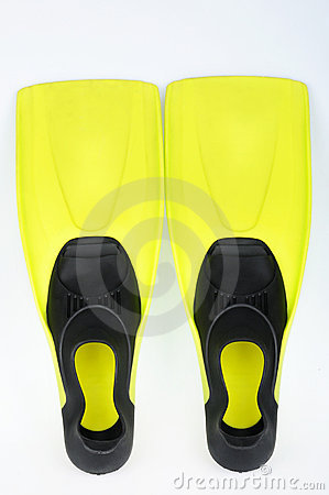 Yellow flippers for diving