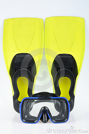 Yellow flippers and mask for diving