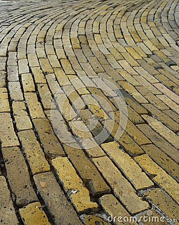Yellow floor brick tiles, Rundetårn, Copenhagen, Denmark
