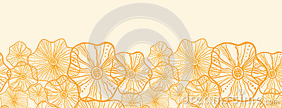 Yellow floral shapes horizontal seamless pattern