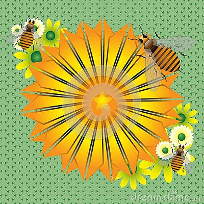 Yellow flower and bees