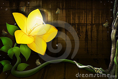 Yellow Flower with a Light Bulb