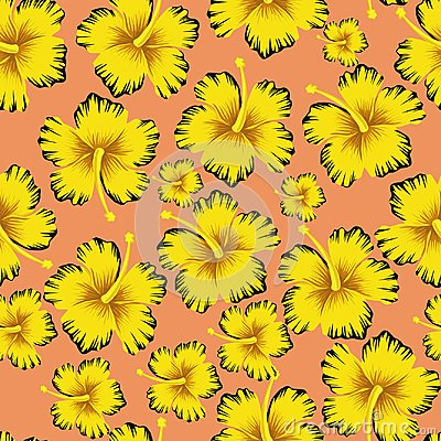 Free Yellow Flowers Hibiscus Seamless Pink Background Royalty Free Stock Images - 121955579