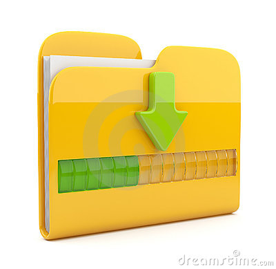 Yellow folder 3D icon. Date downloading