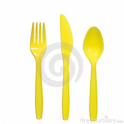 Free Yellow  Fork Knife And Spoon Stock Photography - 2243962