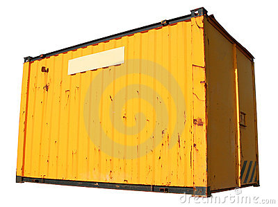 A yellow freight container.
