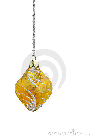 Yellow Frosted Christmas Bauble