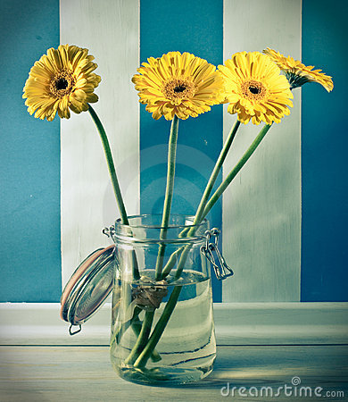 Free Yellow Gerberas Flowers In Jar Stock Photo - 14101070