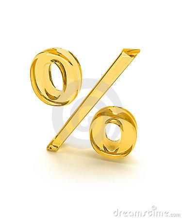Percent sign glass isolated
