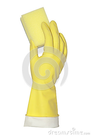 Yellow glove holds profiled sponge
